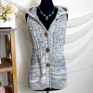 * Pure Handknit Chunky 100% Cotton Hooded Vest